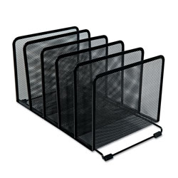 Universal Office Products Deluxe Mesh Stacking Sorter, 5 Sections, Letter to Legal Size Files, 14.63 in x 8.13 in x 7.5 in, Black