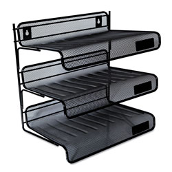 Universal Office Products Deluxe Mesh Three-Tier Desk Shelf, 3 Sections, Letter Size Files, 13.25 in x 9.25 in x 12.38 in, Black