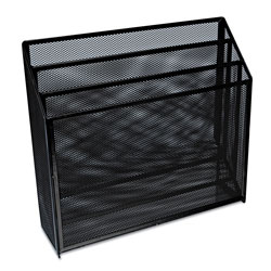 Universal Office Products Deluxe Mesh Three-Tier Organizer, 3 Sections, Letter Size Files, 12.63 in x 3.63 in x 11.5 in, Black