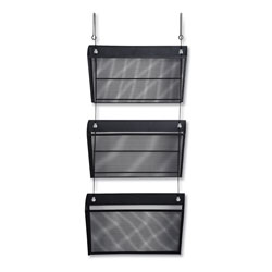 Universal Office Products Mesh Three-Pack Wall Files with Hanger, Letter, Black
