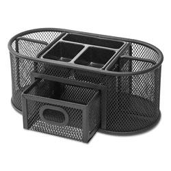 Universal Metal Mesh Oval Desktop Organizer, 9 3/8 x 4 x 4 7/8, Black
