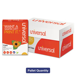 Universal Office Products 30% Recycled Copy Paper, 92 Bright, 20lb, 8.5 x 11, White, 500 Sheets/Ream, 10 Reams/Carton, 40 Cartons/Pallet