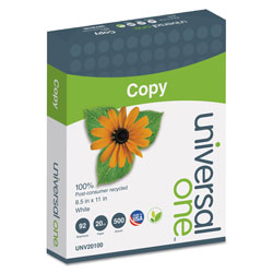 Universal Office Products 100% Recycled Copy Paper, 92 Bright, 20lb, 8.5 x 11, White, 500 Sheets/Ream, 10 Reams/Carton