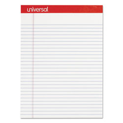 Universal Office Products Perforated Writing Pads, Wide/Legal Rule, 8.5 x 11.75, White, 50 Sheets, Dozen