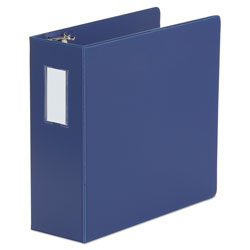 Universal Deluxe Non-View D-Ring Binder with Label Holder, 3 Rings, 4 in Capacity, 11 x 8.5, Royal Blue