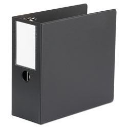 Universal Office Products Deluxe Non-View D-Ring Binder with Label Holder, 3 Rings, 5 in Capacity, 11 x 8.5, Black