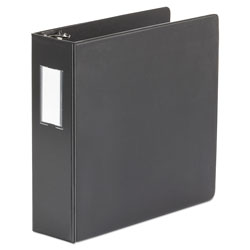 Universal Deluxe Non-View D-Ring Binder with Label Holder, 3 Rings, 3 in Capacity, 11 x 8.5, Black