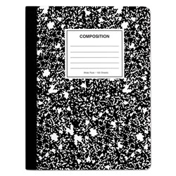 Universal Office Products Composition Book, Wide/Legal Rule, Black Marble Cover, 9.75 x 7.5, 100 Sheets, 6/Pack