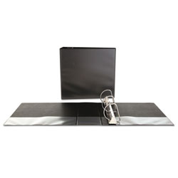 Universal Office Products Slant-Ring View Binder, 3 Rings, 4 in Capacity, 11 x 8.5, Black