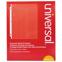 Universal Standard Sheet Protector, Economy, 8 1/2 x 11, Clear, 200/Box