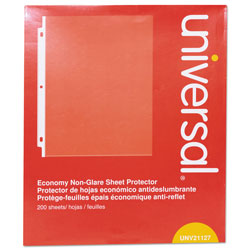 Universal Office Products Top-Load Poly Sheet Protectors, Nonglare, Economy, Letter, 200/Box