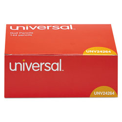 Universal Office Products Golf and Pew Pencil, HB (#2), Black Lead, Yellow Barrel, 144/Box