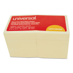 Universal Office Products Recycled Self-Stick Note Pads, 3 x 3, Yellow; 100-Sheet, 18/Pack