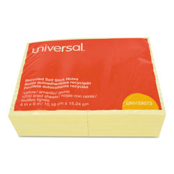 Universal Office Products Recycled Self-Stick Note Pads, Lined, 4 x 6, Yellow, 100-Sheet, 12/Pack