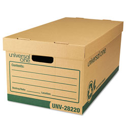 Universal Office Products Recycled Heavy-Duty Record Storage Box, Letter Files, Kraft/Green, 12/Carton