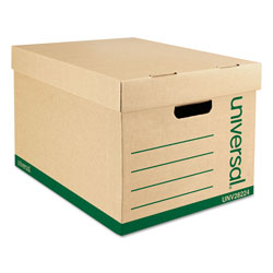 Universal Office Products Recycled Heavy-Duty Record Storage Box, Letter/Legal Files, Kraft/Green, 12/Carton