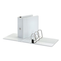 Universal Office Products Deluxe Easy-to-Open D-Ring View Binder, 3 Rings, 5 in Capacity, 11 x 8.5, White