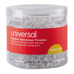 Universal Office Products Clear Push Pins, Plastic, 3/8 in, 400/Pack