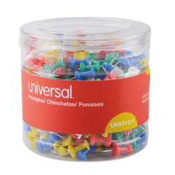 Universal Office Products Colored Push Pins, Plastic, Assorted, 3/8 in, 400/Pack