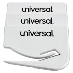Universal Office Products Letter Slitter Hand Letter Opener w/Concealed Blade, 2 1/2 in, White, 3/Pack