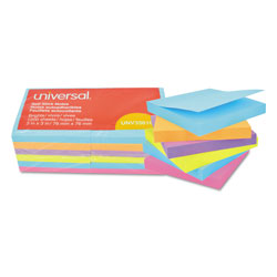Universal Office Products Self-Stick Note Pads, 3 x 3, Assorted Bright Colors, 100-Sheet, 12/PK