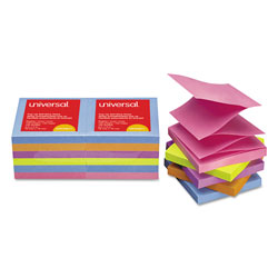 Universal Office Products Fan-Folded Self-Stick Pop-Up Note Pads, 3 x 3, Assorted Bright, 100-Sheet, 12/PK
