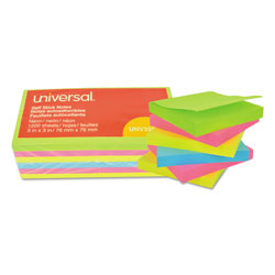 Universal Office Products Self-Stick Note Pads, 3 x 3, Assorted Neon Colors, 100-Sheet, 12/Pack
