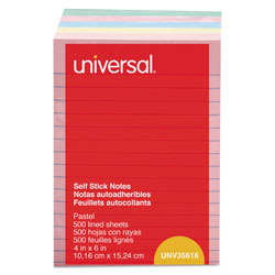 Universal Office Products Self-Stick Note Pads, 4 x 6, Lined, Assorted Pastel Colors, 100-Sheet, 5/PK