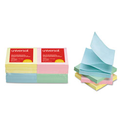 Universal Office Products Fan-Folded Self-Stick Pop-Up Notes, 3 x 3, 4 Assorted Pastel, 100-Sheet, 12/PK