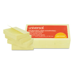 Universal Office Products Self-Stick Note Pads, 1 1/2 x 2, Yellow, 12 100-Sheet/Pack