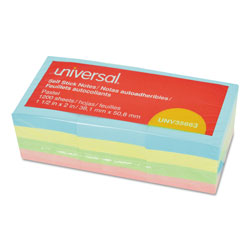 Universal Office Products Self-Stick Note Pads, 1 1/2 x 2, Assorted Pastel Colors, 100-Sheet, 12/Pack