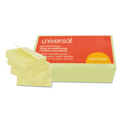 Universal Office Products Self-Stick Note Pads, 3 x 3, Yellow, 100-Sheet, 12/Pack