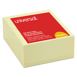 Universal Office Products Self-Stick Note Pads, 3 x 5, Yellow, 100-Sheet, 12/Pack