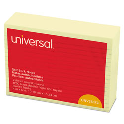 Universal Office Products Self-Stick Note Pads, Lined, 4 x 6, Yellow, 100-Sheet, 12/Pack