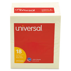 Universal Office Products Self-Stick Note Pads, 3 x 5, Yellow, 100-Sheet, 18/Pack
