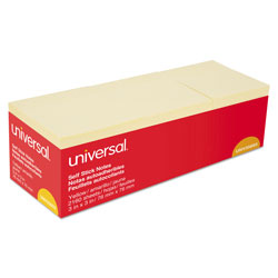 Universal Office Products Self-Stick Note Pads, 3 in x 3 in, Yellow, 90-Sheet, 24/Pack