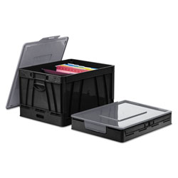 Universal Office Products Collapsible Crate, Letter/Legal Files, 17.25 in x 14.25 in x 10.5 in, Black/Gray, 2/Pack
