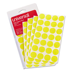 Universal Office Products Self-Adhesive Removable Color-Coding Labels, 0.75 in dia., Yellow, 28/Sheet, 36 Sheets/Pack