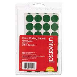 Universal Office Products Self-Adhesive Removable Color-Coding Labels, 0.75 in dia., Green, 28/Sheet, 36 Sheets/Pack