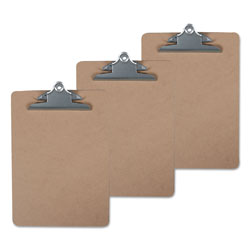 Universal Office Products Hardboard Clipboard, 1 in Capacity, 8 1/2 x 11, Brown, 3/Pack