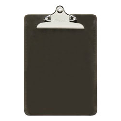 Universal Office Products Plastic Clipboard w/High Capacity Clip, 1 in, Holds 8 1/2 x 12, Translucent Black