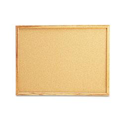 Universal Cork Board with Oak Style Frame, 24 x 18, Natural, Oak-Finished Frame