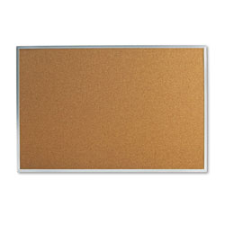 Universal Office Products Bulletin Board, Natural Cork, 36 x 24, Satin-Finished Aluminum Frame