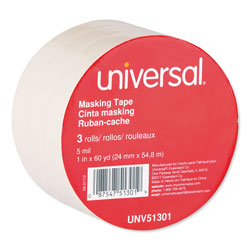 Universal Office Products General-Purpose Masking Tape, 3 in Core, 24 mm x 54.8 m, Beige, 3/Pack