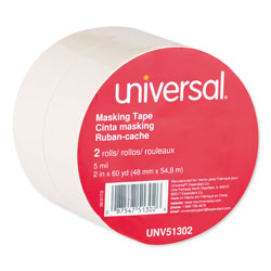 Universal Office Products General-Purpose Masking Tape, 3 in Core, 48 mm x 54.8 m, Beige, 2/Pack