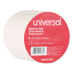 Universal Office Products Removable General-Purpose Masking Tape, 3 in Core, 18 mm x 54.8 m, Beige, 6/Pack