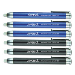 Universal Office Products Pen-Style Retractable Eraser, White Thermo-Plastic Rubber Eraser, Assorted Barrel Colors, 6/Pack
