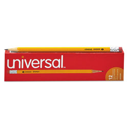 Universal Office Products #2 Woodcase Pencil, HB (#2), Black Lead, Yellow Barrel, Dozen