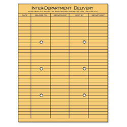 Universal Office Products String and Button Interoffice Envelope, #97, Two-Sided Five-Column Format, 10 x 13, Light Brown Kraft, 100/Box