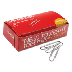 Universal Office Products Paper Clips, Jumbo, Silver, 100 Clips/Box, 10 Boxes/Pack